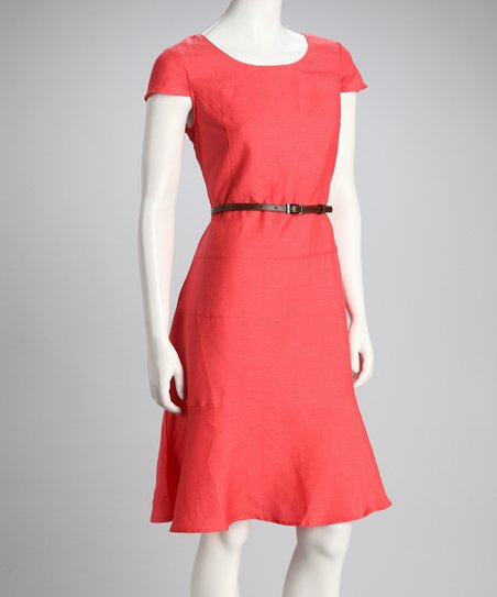 Corallina Belted Cap-Sleeve Dress