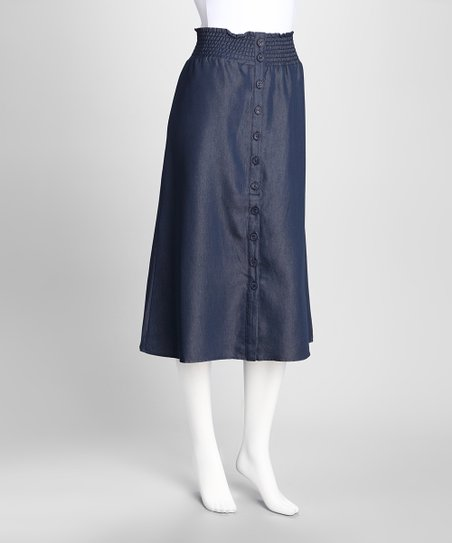 Blue Denim Button Front Skirt