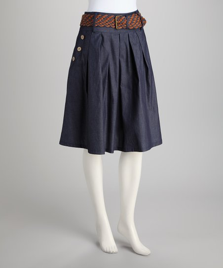 Navy Belted Pleated Skirt