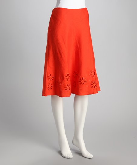 Guava Orange Cutout Skirt