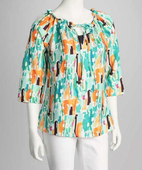 Teal & Orange Abstract Peasant Top