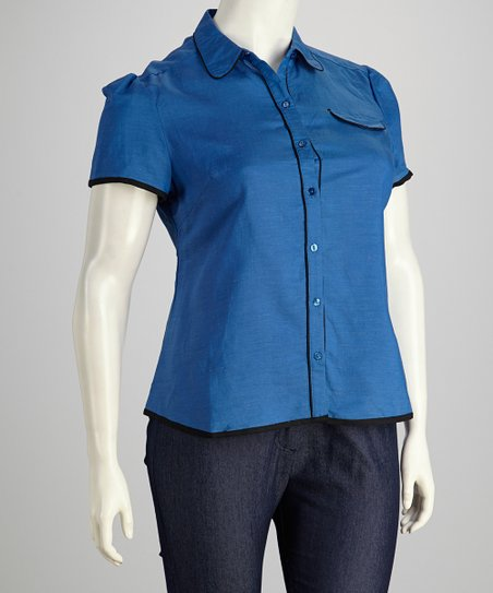 Blue & Black Plus-Size Short-Sleeve Button-Up