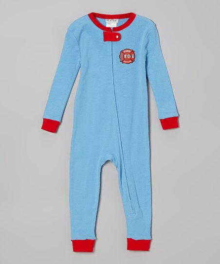 Blue & Red 'Fire Rescue' One-Piece Pajama - Infant & Toddler