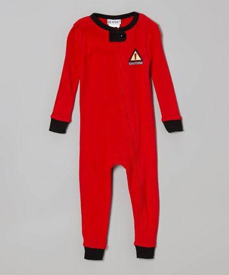 Red 'Caution' One-Piece Pajama - Infant & Toddler