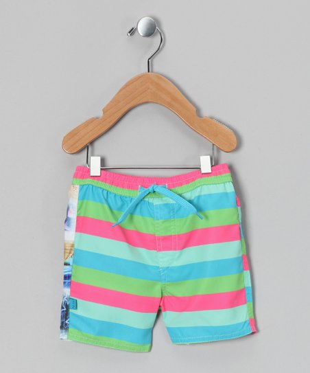 Green Stripe Aop Swim Trunks - Infant, Toddler & Boys
