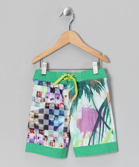 Bright White & Green Kito Bam Swim Trunks - Toddler & Boys