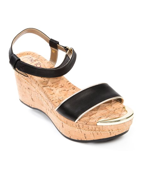 Black Chanella Wedge Sandal