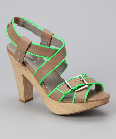 Sand & Neon Green Piping Ebony Sandal