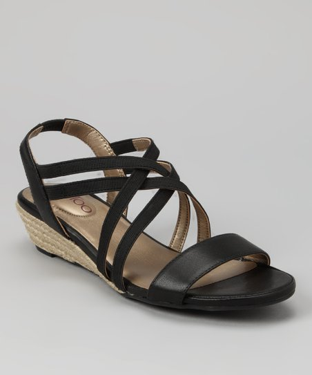 Black Nappa Sevita Wedge