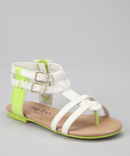 White & Lime Teri Gladiator Sandal