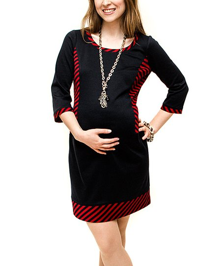 Navy & Red Maternity Three-Quarter Sleeve Dress
