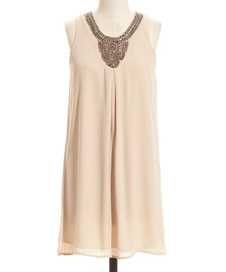 Cream Embellished Sleeveless Shift Dress