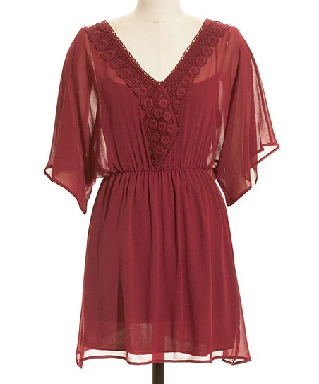 Burgundy Lace V-Neck Blouson Dress