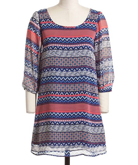 Red & Blue Geometric Shift Dress
