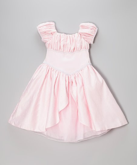 Light Pink Pearl Puff-Sleeve Dress - Infant & Girls