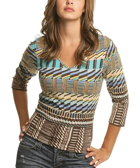 Yellow & Aqua Abstract V-Neck Top - Women