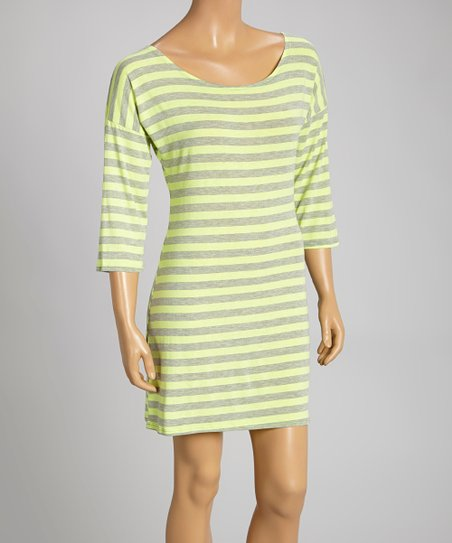 Yellow & Gray Stripe Three-Quarter Sleeve Dress