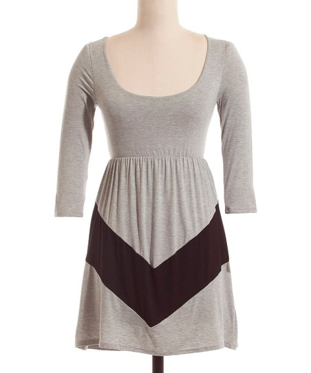 Gray & Black Chevron Three-Quarter Sleeve Dress