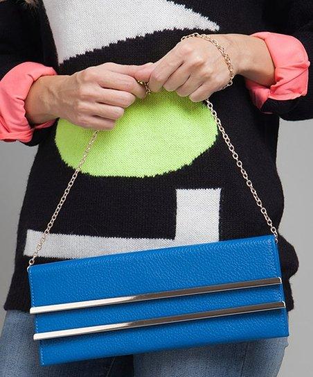 Blue & Silver Stripe Clutch