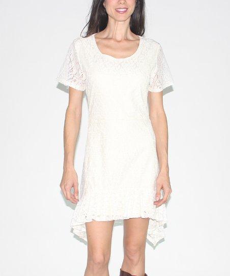 Beige Lace Sidetail Dress