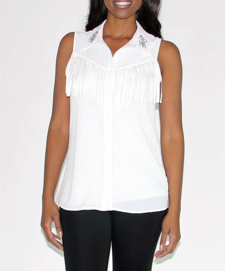 White Embellished Fringe Top