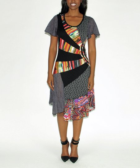 Red & Gray Patchwork Dress
