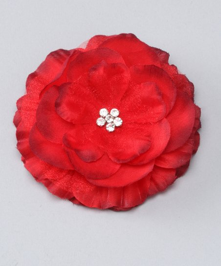 Red Rhinestone Flower Clip
