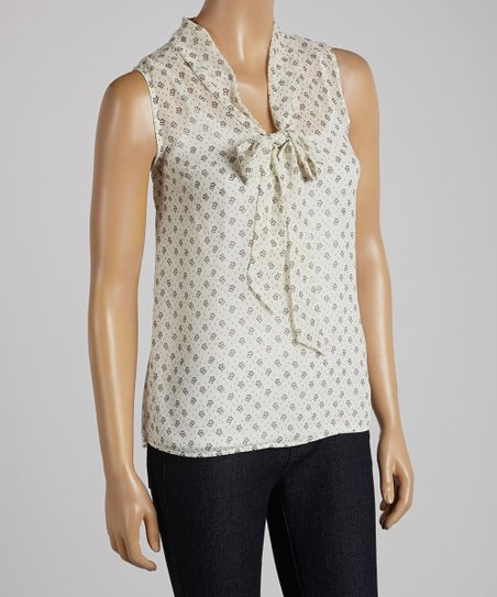 Ivory Polka Dot Bow Sleeveless Top