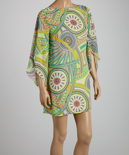 Chartreuse & Orange Abstract Shift Dress