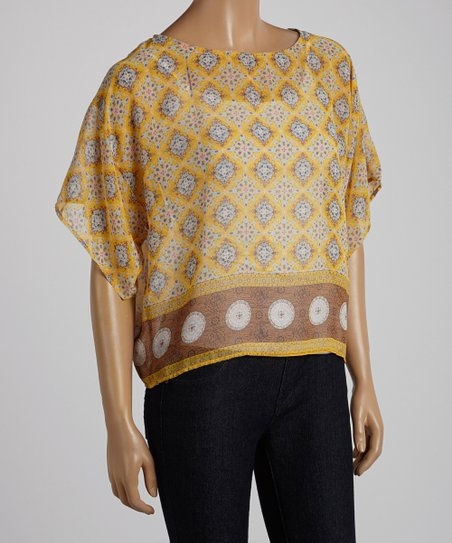 Yellow Diamond Semi-Sheer Cape-Sleeve Top