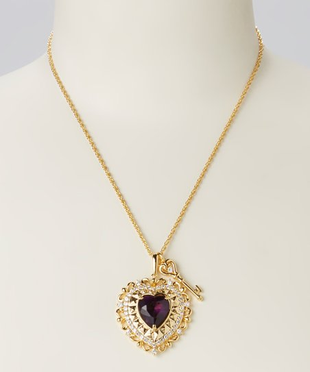 Yellow Gold & Purple Crystal Heart Pendant Necklace