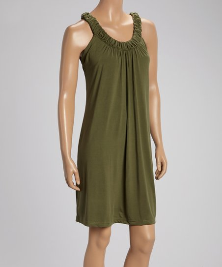 Olive Ruched Yoke Sleeveless Dress