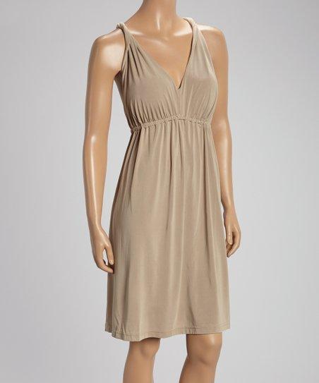 Latte Sleeveless Empire-Waist Dress
