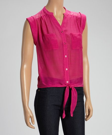 Sangria Tie-Front Sleeveless Top