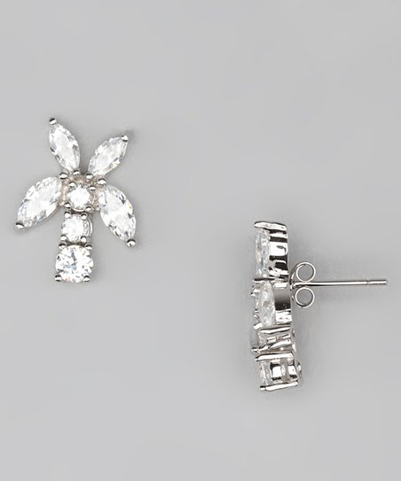 Cubic Zirconia & Sterling Silver Flower Stud Earrings