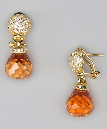 Cubic Zirconia & Gold Drop Earrings