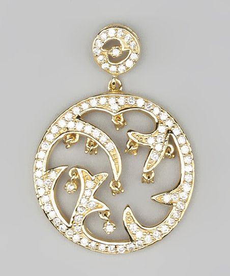 Cubic Zirconia &amp; Gold Filigree Pendant