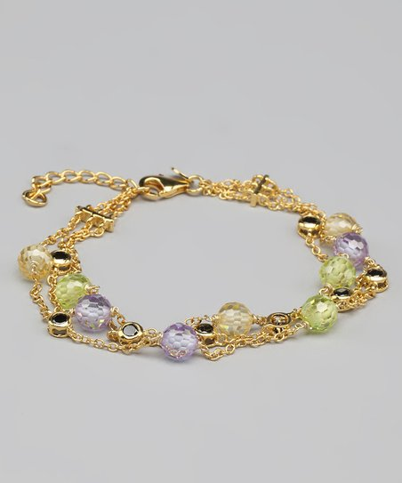 Citrine &amp; Gold Triple-Strand Bracelet