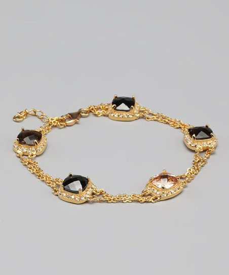 Brown Cubic Zirconia & Gold Fancy Bracelet