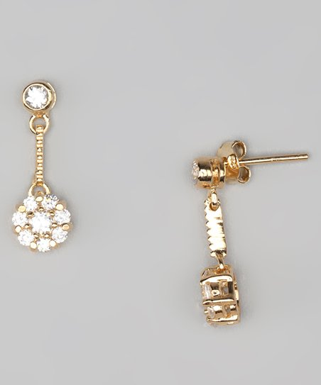 Clear Cubic Zirconia &amp; Gold Drop Earrings