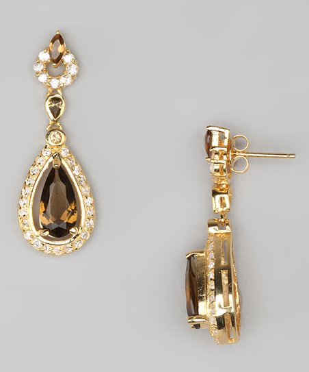Smoky & Gold Teardrop Earrings
