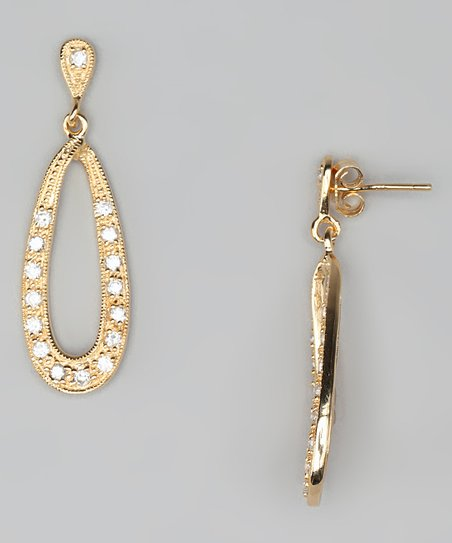 Cubic Zirconia & Gold Oval Drop Earrings