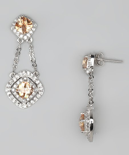 Champagne Cubic Zirconia &amp; Sterling Silver Drop Earrings