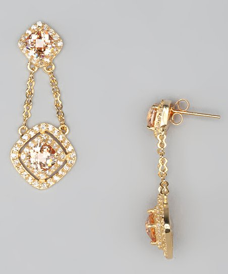 Champagne Cubic Zirconia & Gold Drop Earrings