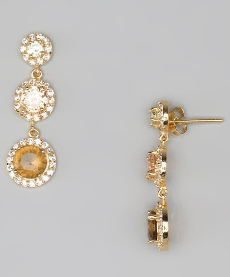 Brown Cubic Zirconia &amp; Gold Three-Circle Drop Earrings