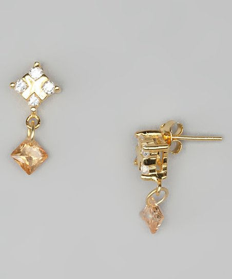 Cubic Zirconia & Gold Square Drop Earrings