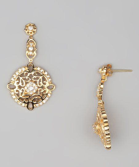 Cubic Zirconia & Gold Baroque Circle Drop Earrings