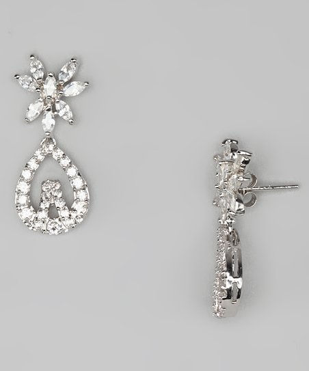 Cubic Zirconia & Sterling Silver Fancy Teardrop Earrings