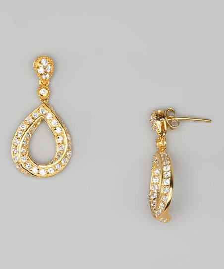 Cubic Zirconia & Gold Open Teardrop Earrings