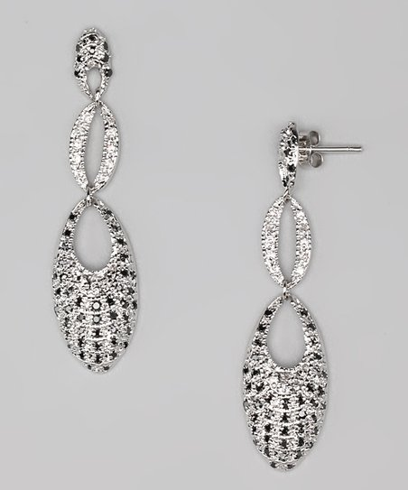 Black & Clear Cubic Zirconia Double Drop Earrings
